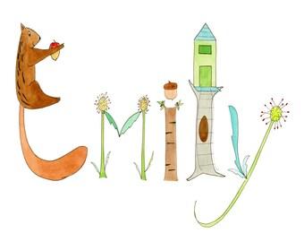 Personalized Nursery Print, Name Art, Woodlands Theme, squirrel, teepee, fox, raccoon, deer, dragonfly, hedgehog, owl, 8x10 or 8 1/2 x 11