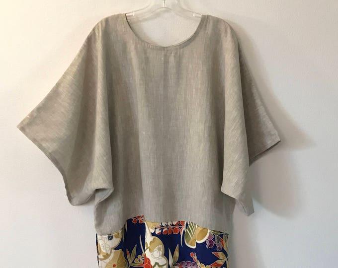 readymade  kimono panel oversized kimono top / pebble linen kimono wide sleeve top / kimono silk motif / free size / ready to ship /