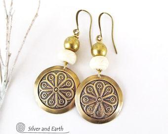 Gold Dangle Earrings, Textured Brass Earrings, Moroccan Earrings, Unique Handmade Artisan Jewelry, Bohemian Earrings, Boho Chic Jewelry