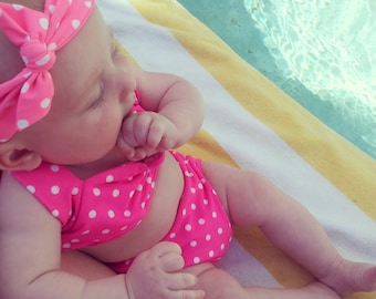 SALE Itsy bitsy teeny weeny Pink & white polka dot bikini swimsuit Baby size newborn to 12 mos.