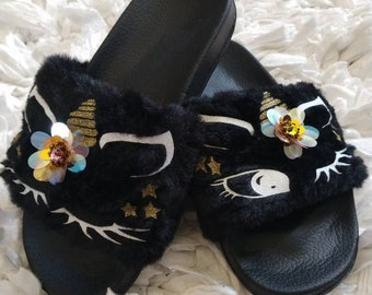 Black Unicorn Slippers for girls, slippers, unicorn slippers baby, kids house shoes, black slippers for girls, rainbow shoes for girls