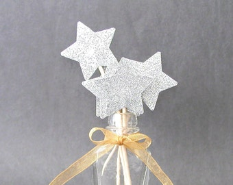 SALE - Set of 12 Shimmering Silver Glitter Star Cupcake Toppers Food Picks