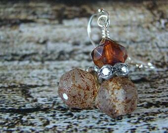 Brown Glass Bead Earrings, Glass Dangle Earrings, Rhinestone Earrings, Bohemian Earrings, Boho Jewelry, Hippie Earrings, Glass Beaded