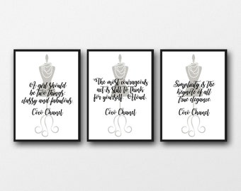 Set of 3 Unframed Coco Chanel Quotes