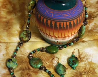 Green Turquoise Necklace & Earrings Set