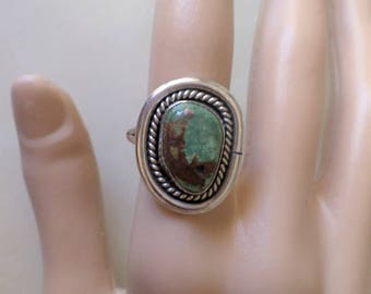 Sterling Silver 925 Stamped, Chrysocolla Stone Ladies Ring, Size 7.