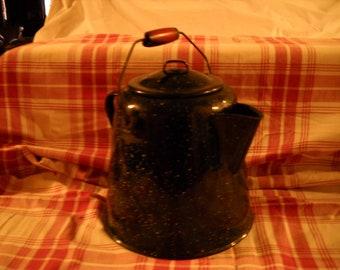 Vintage Rustic Graniteware Coffeepot