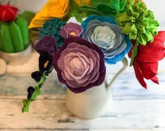 Felt Wildflowers, Mothers Day Gift, Peony, Felt Protea, Felt Bridal Bouquet, Boho Bouquet, Wildflower Bouquet, Rainbow, Chakra, Felt Flowers