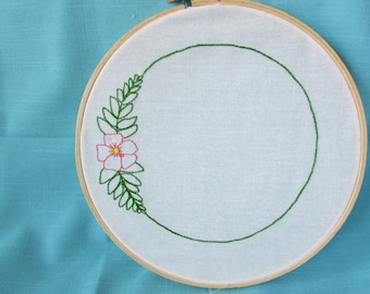 Hand Embroidery Pattern// Flower Wreath