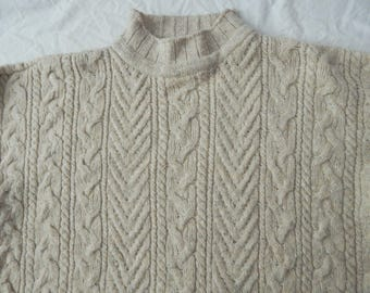 Wool Cable Knit White Gray Heritage Fisherman Turtleneck Sweater - XL Mens