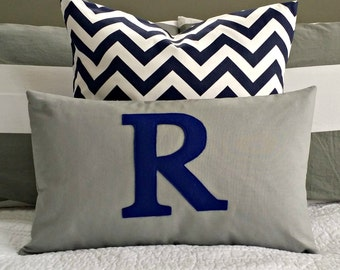 Monogrammed Lumbar Pillow Cover - Solid Grey with Navy Monogram