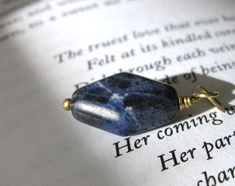 SALE Small Geometric Sodalite and Brass Pendant / Stocking Stuffer, Diamond Shaped, Blue, White, Earthy