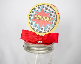 Superhero Whirly Pop. Party Favor. Lollipop. Red. Cherry Flavored. Superman. Spider-Man. Captain America. Avengers
