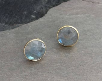 Labradorite Earrings, Labradorite Studs, Gold Stud Earrings, Gemstone Earrings, Round Earrings, Gold Vermeil