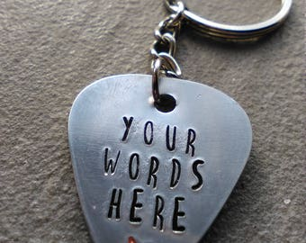 Plectrum Keychain With Your Own Words - Hand Stamped Plectrum Keyring - Pick - Guitarist Gift - Musician Gift - Rocker Gift  - Personalise
