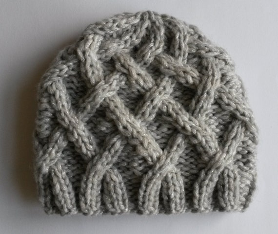 Girl's beanie: Aran cable knit hat in silver gray sparkly yarn. Made in Ireland. Chunky knit beanie for child. Original design. Warm, cosy