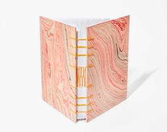 Pink Waves Journal | Freeform Marble, Coptic & French Link Stitch, Medium