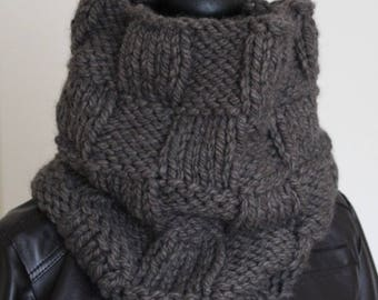 Knitted unisex wool made of coarse knit, coarse wool mole, knitted, checkerboard pattern, fashion accessory