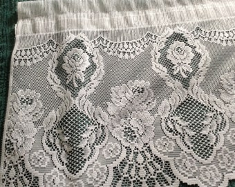 Vintage Lace Valance, Pure White, 60 x 15