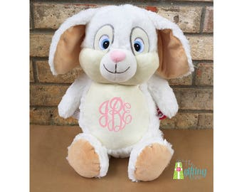 """Monogrammed Stuffed Bunny, Personalized Stuffed White Rabbit, Baby Gift, White Bunny Rabbit for Gift Basket, 12"""" Bunny Cubbie"""