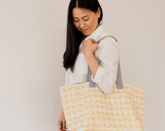 Bee Print Tote Bag - everyday bag - vegan vegetarian bag - shoulder shopping bag - gift for him, her - handmade - large casual travel bag