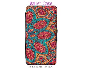 Orange blue Mandala iphone 7 Case , iphone 7 case , iphone 7 Wallet Case , iphone 7 , iPhone 7 Wallet