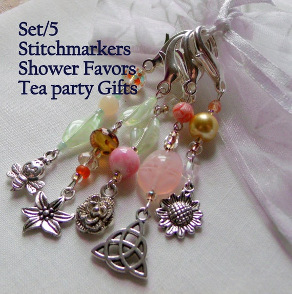 Pastel Garden zipper pulls - stitch markers - scissor fobs - shower favors - mixed charms - tea party gift  - Travelling Journal charms