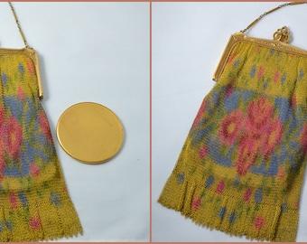 Art Deco Handbag Whiting Davis Floral Dresden Mesh Purse