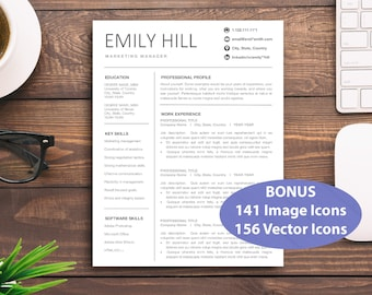 CV Resume Template Word  Professional Modern Download  Design General Simple 4 Page Cover Letter Mac PC Resumes Templates CVs Pages Custom