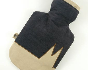 """upcycling-hot-water bottle cover """"Köln"""" jeans/cord Cologne hot Waterbottle cover"""