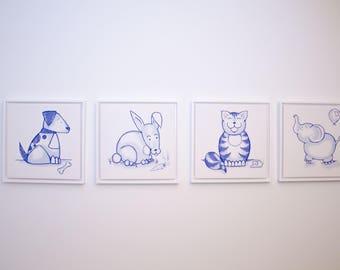 Nursery canvas - Blue animals