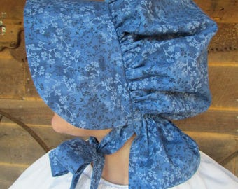 Old Fashioned Colonial Laura Ingalls  1800s Little House on the Prairie -Royal Blue Pioneer Hat- Adult Size