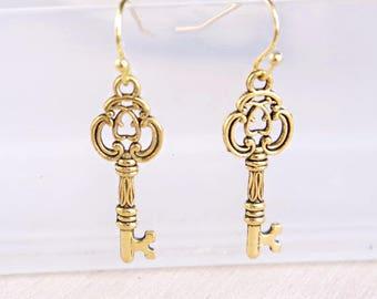 Gold key earrings skeleton key jewelry vintage key earrings charm love earrings Anniversary gift for her mothers day Steampunk earrings
