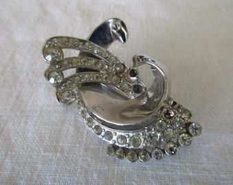 vintage Coro rhinestone pin - silver, glittery, swirl