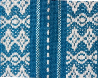 folk dress fabric, vintage 70s fabric, blue white