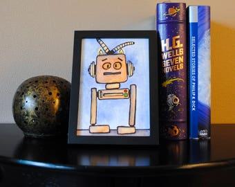Mr. Neuroto, Robot, Professional Art Print, Vintage, Befuddled, Anxious