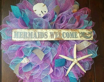 Mermaid Wreath, Little Mermaid, Mermiads Welcome, Mermaid, Mermaids, Pink Mermaid, Beach Mermaid Wreath, Colorful Mermaid Wreath