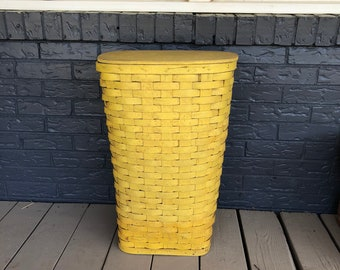 Vintage Woven Red-Man Clothes Hamper Basket Yellow Paint