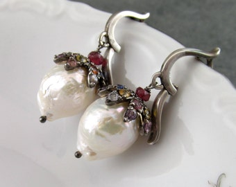 Sapphire & pearl earrings, handmade sterling silver, white Kasumi like baroque pearl, and multi sapphire earrings-OOAK