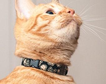 Boy Cat Collar, Black Cat Collar with Skulls, Elastic Cat Collar, Outdoor Cat Collar, Non Breakaway Cat Collar, Safety Cat Collar