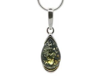 Teardrop Necklace - Amber Drop Pendant - Amber Necklace - Amber Pendant - Silver Teardrop Necklace - Teardrop Pendant -600P1g