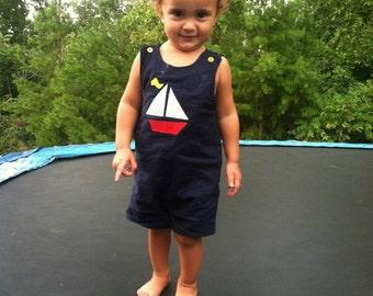Boys Nautucal Jon Jon - Boys Sailboat Jon Jon -  Boys Beach Outfit - Boys Birthday Outfit - Toddler Boy Clothing - Groovy Gurlz