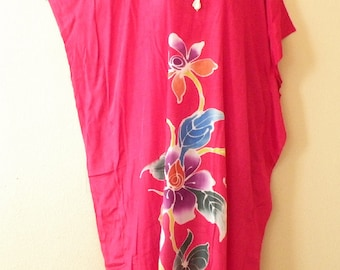 Romantic Eden Batik Dolman Batwing Sheen Caftan Kaftan Tunic Hippy Maxi Dress - 1X, 2X, 3X & 4X
