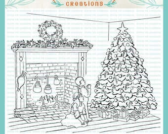Christmas Mantel With Boy and Girl Kneeling Beside Tree Digital Hand Drawn Stamp Illustration