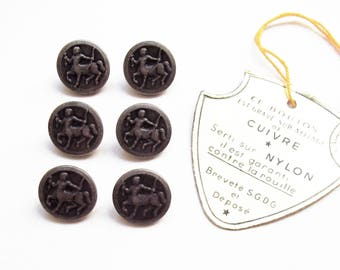 6 vintage metal buttons engraved 14 mm / top quality