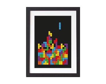 Tetris Style Print - Tetris Poster - Tetris Wall Art - Home Decor