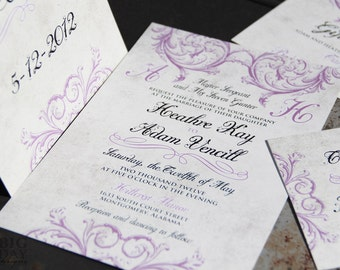 Lavendar scroll Wedding Invitations, Vintage Victorian scroll wedding invitation,Lavendar victorian wedding invitations, victorian scrolls