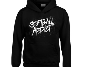 Kids Softball Addict Hoodie - Custom Colors - Youth XS S M L XL - Boys / Girls Hoody, Sweatshirt, Softball Shirt, Fastpitch - 18 Colors