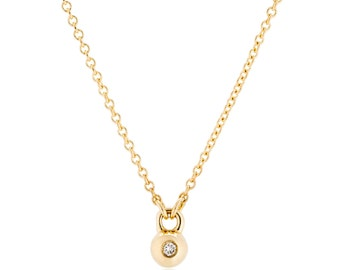 14K Gold Diamond Necklace, Gold Ball Necklace, available in 14K white and 14K rose gold