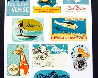 Vintage Luggage Label Images Paper, on Card Stock 8.5 X 11 Sheet A-1. NOT Digital